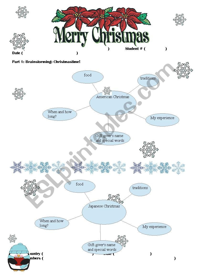 Christmas Around The World Research Project - Esl Worksheet