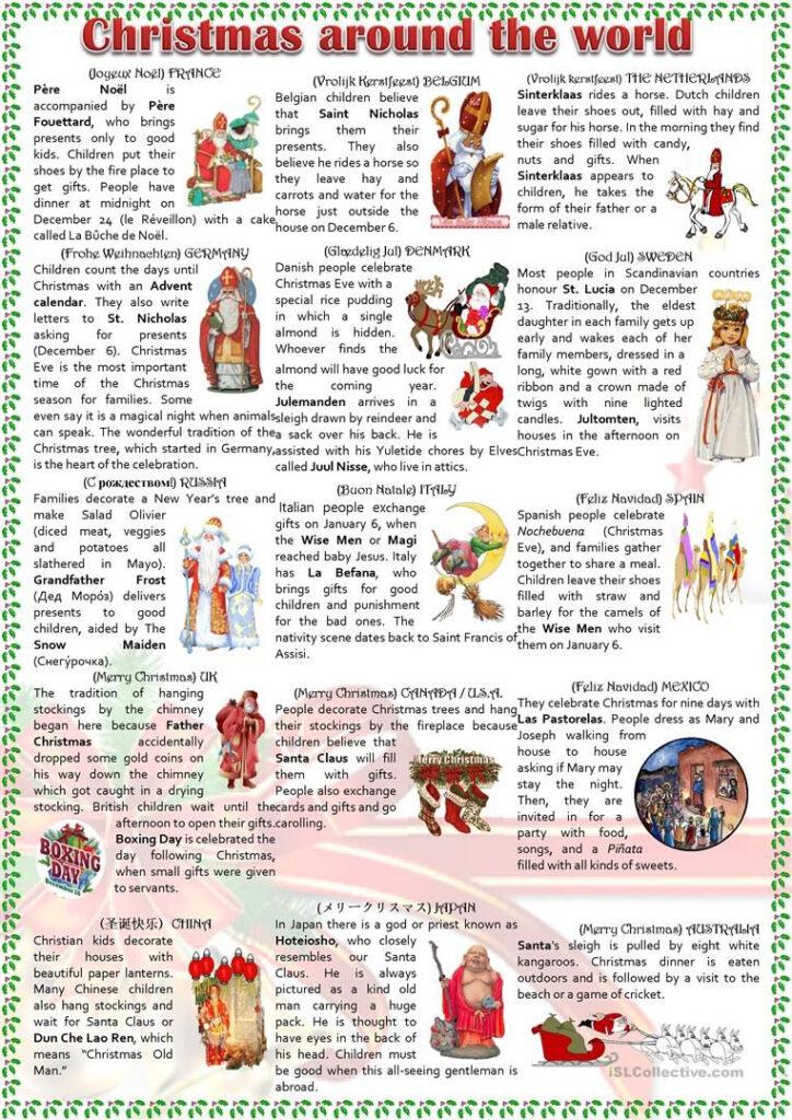 Christmas Around The World Worksheet   Free Esl Printable