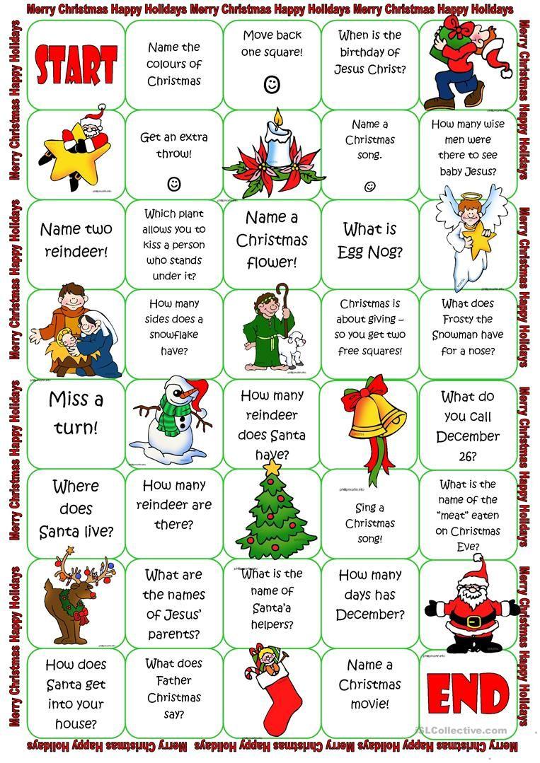 Christmas Board Game Worksheet - Free Esl Printable