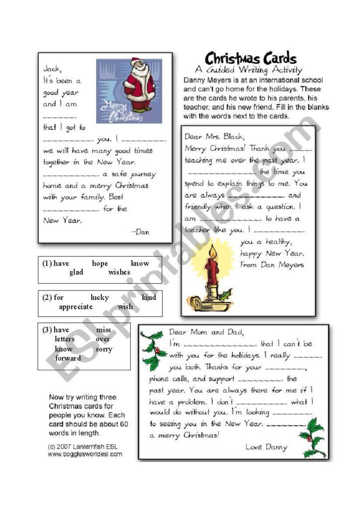 Christmas Card Cloze   Esl Worksheetiris1212