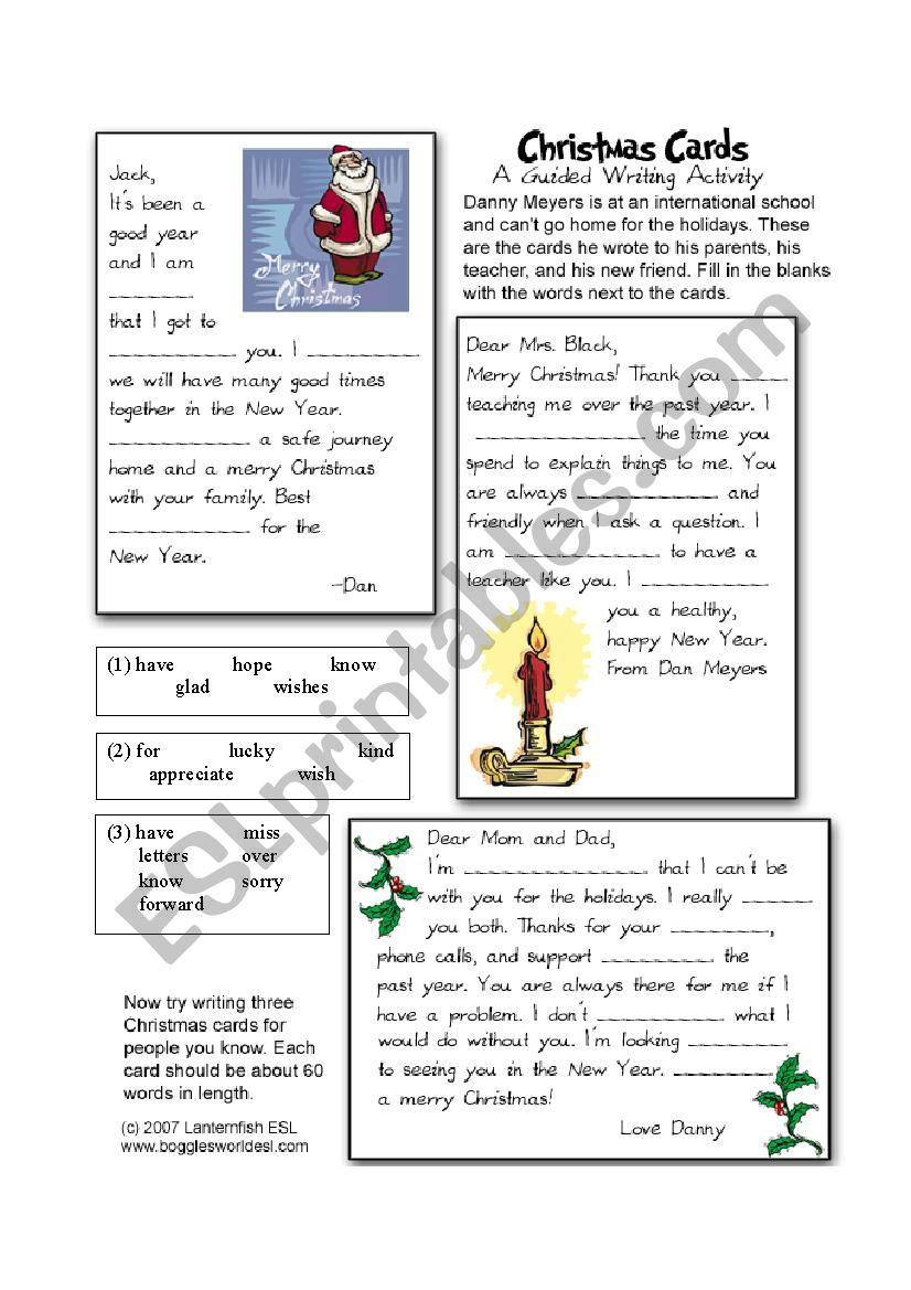 Christmas Card Cloze - Esl Worksheetiris1212