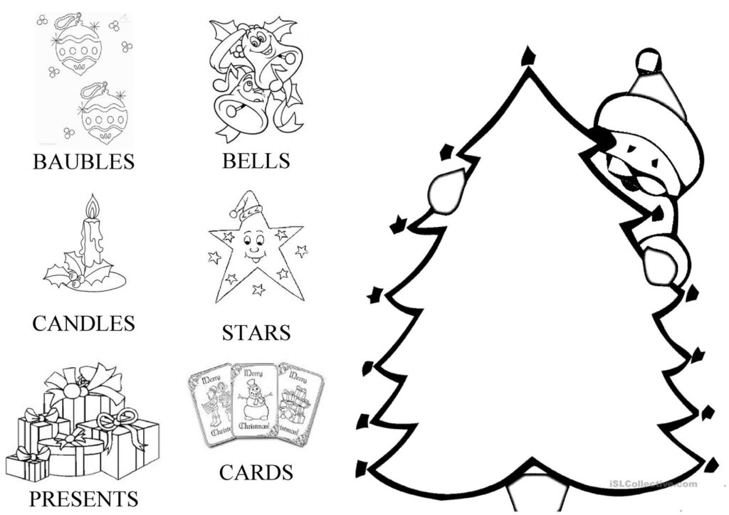 Christmas Card. Decorate The Tree   English Esl Worksheets