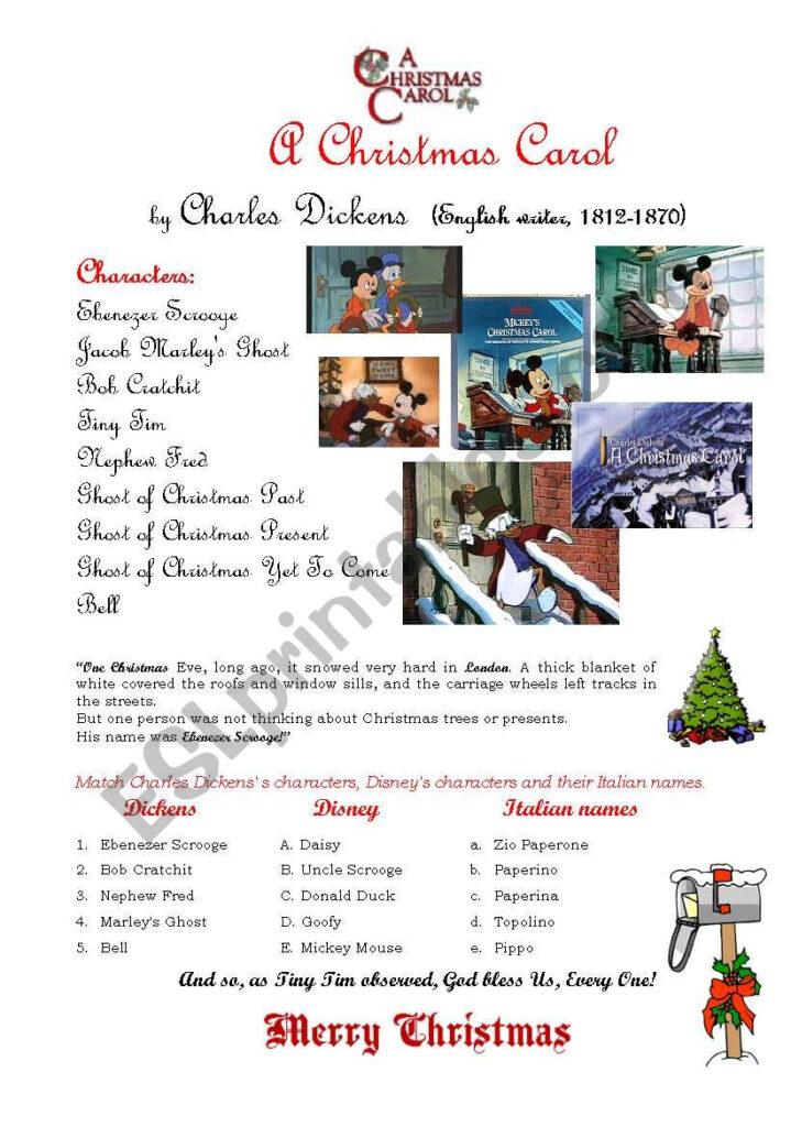 Christmas Carol Esl Worksheetcustomer Worksheets