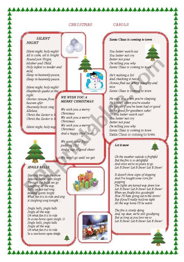 Christmas Carols   Esl Worksheeta K