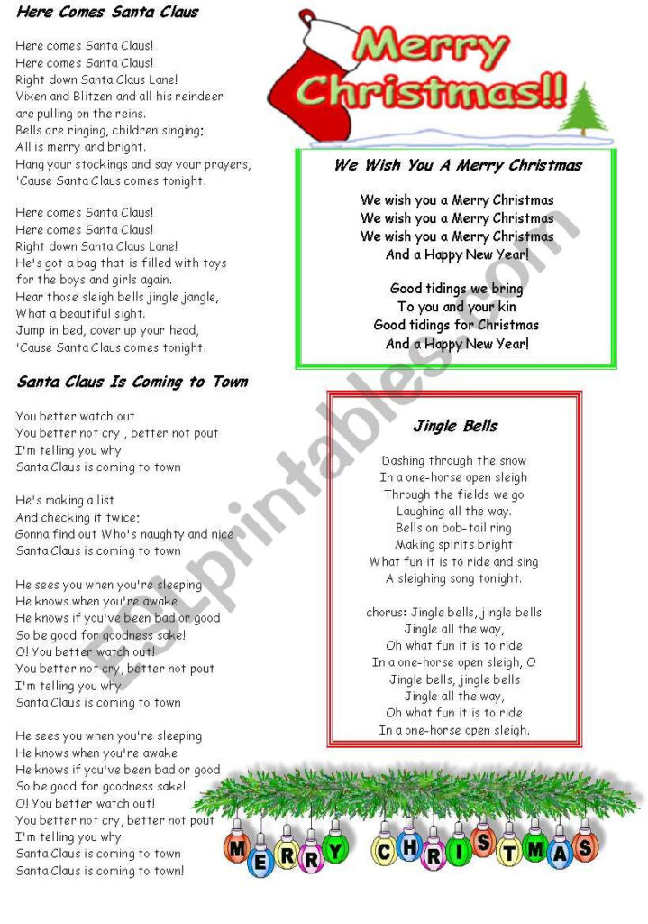 Christmas Carols Fill In The Blanks   Esl Worksheetydroj