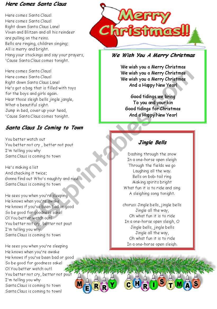Christmas Carols Fill In The Blanks - Esl Worksheetydroj