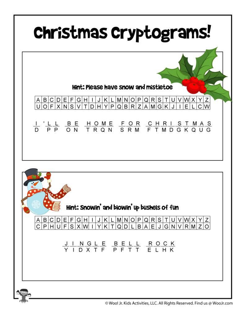 Christmas Carols Printable Puzzle Game   Answer Key | Woo