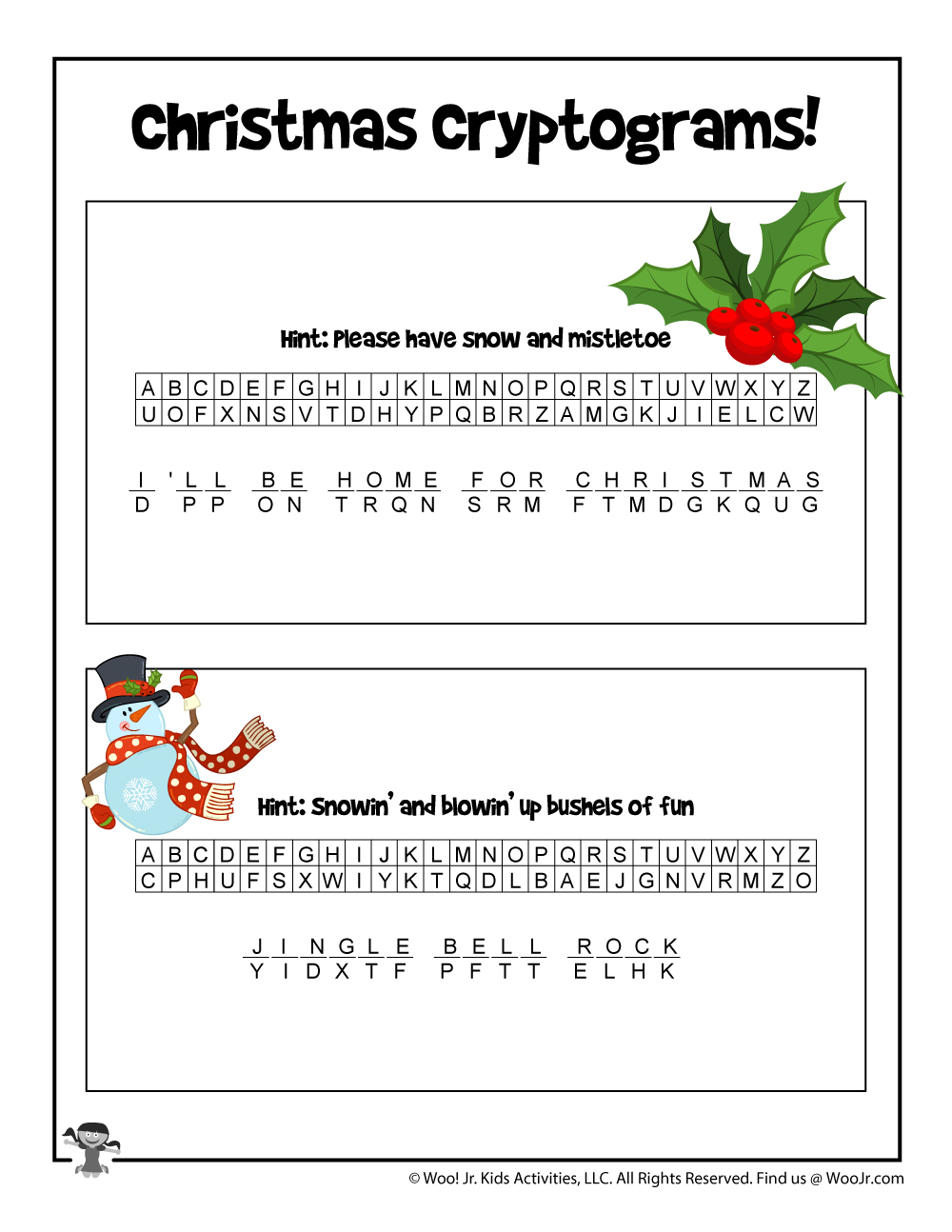 Christmas Carols Printable Puzzle Game - Answer Key | Woo