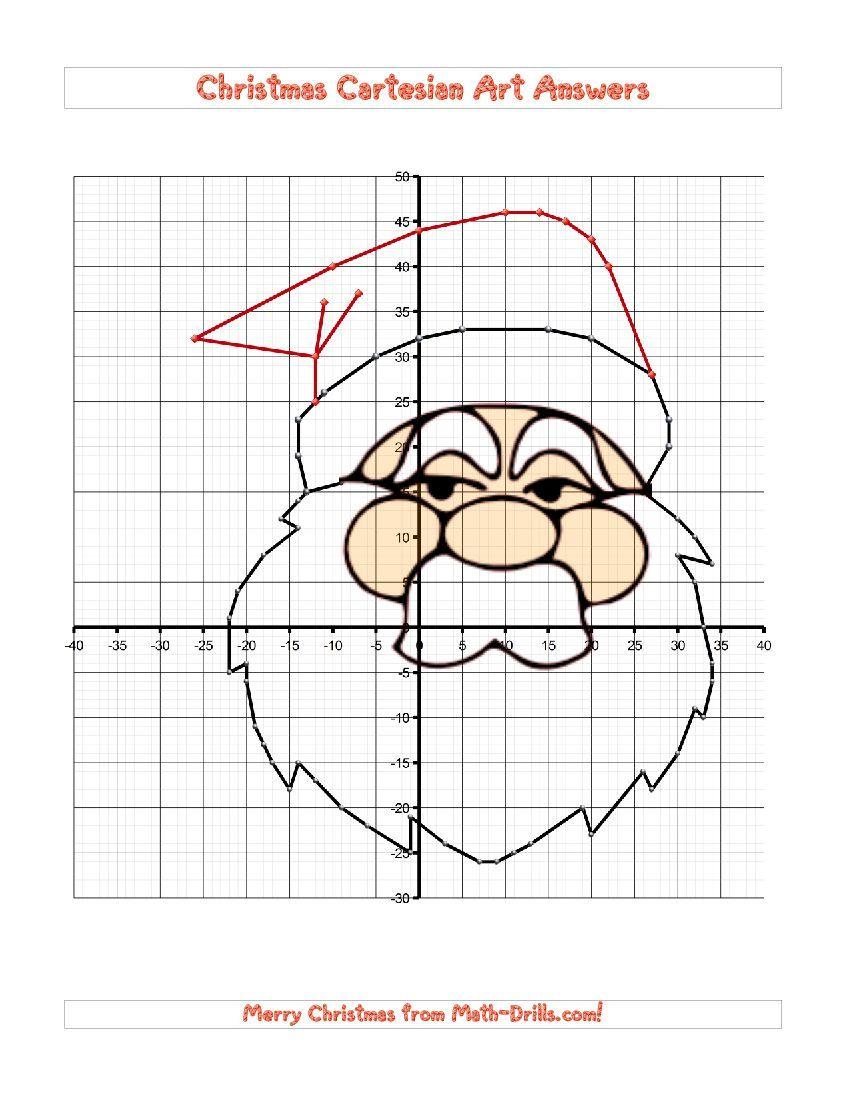 Christmas Cartesian Art Santa (D) Christmas Math Worksheet