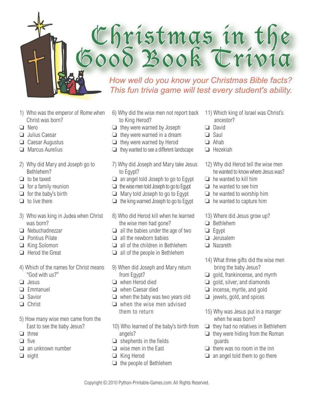 Christmas: Christmas Bible Trivia Game | Christmas Trivia