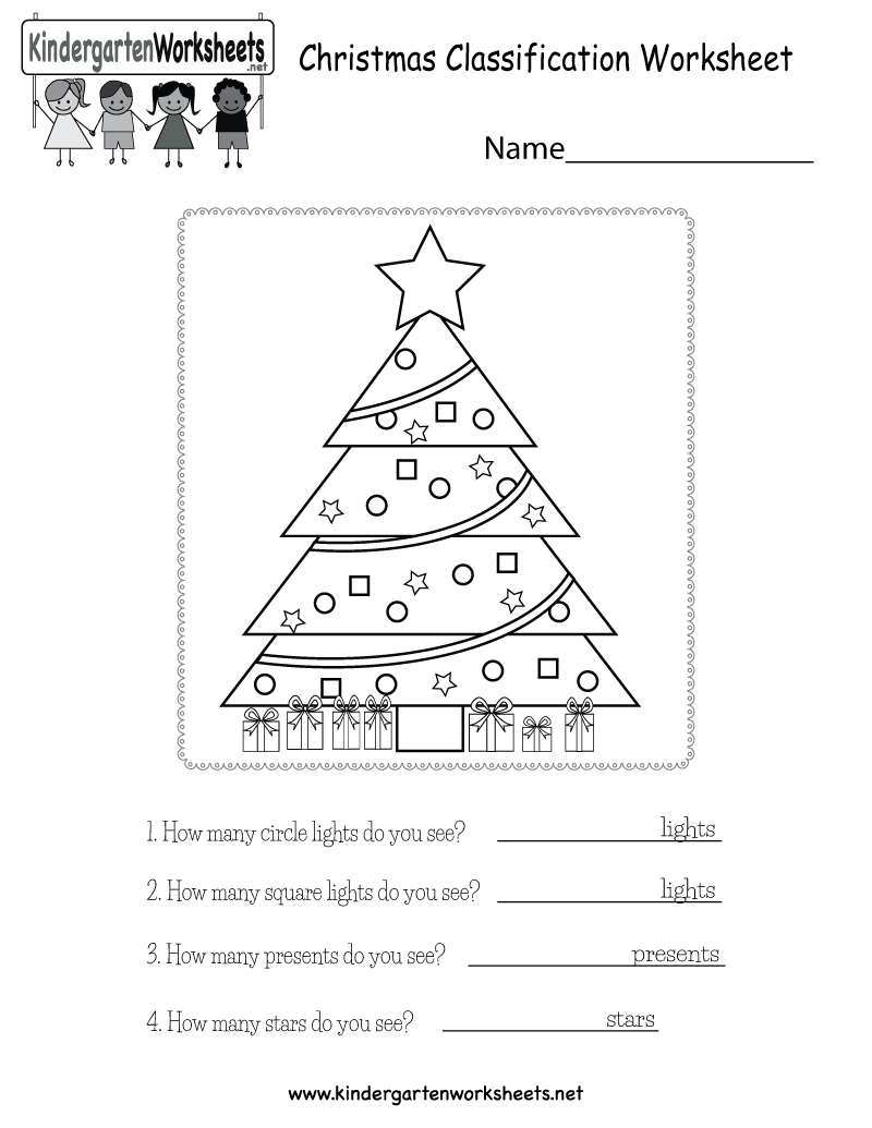 Christmas Classification Worksheet - Free Kindergarten