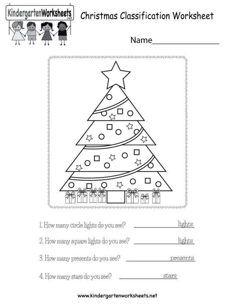 Christmas Classification Worksheet   Free Kindergarten