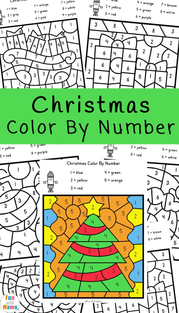 Christmas Colornumber Worksheets   Fun With Mama