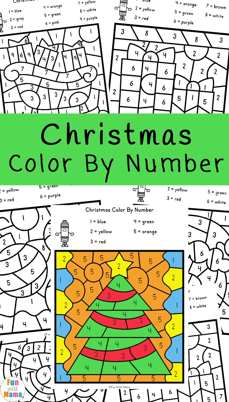Christmas Colornumber Worksheets - Fun With Mama