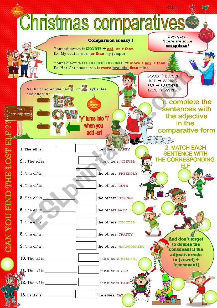 Christmas Comparatives 1 - With Key - Esl Worksheetfirstime