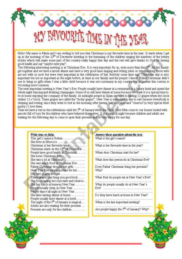 Christmas Comprehension Worksheets Year 4   Dutfvv