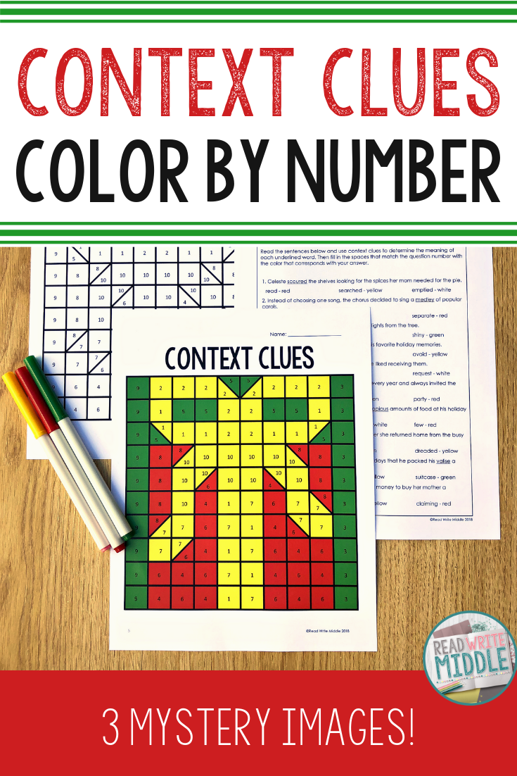 Christmas Context Clues Colornumber | Context Clues