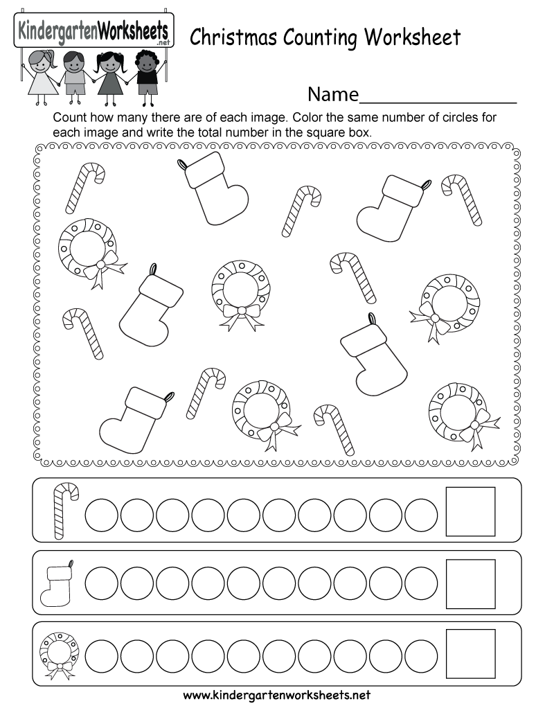 Christmas Counting Worksheet - Free Kindergarten Holiday