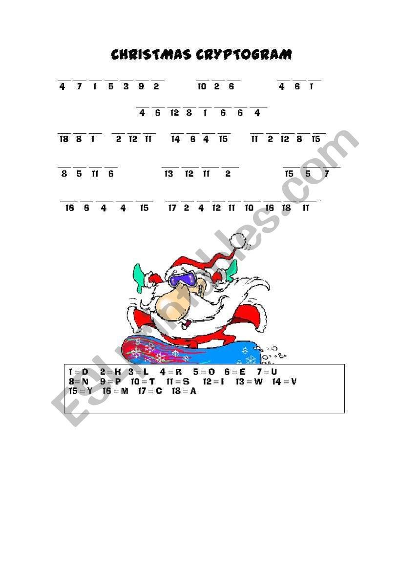 Christmas Cryptogram - Esl Worksheettriska