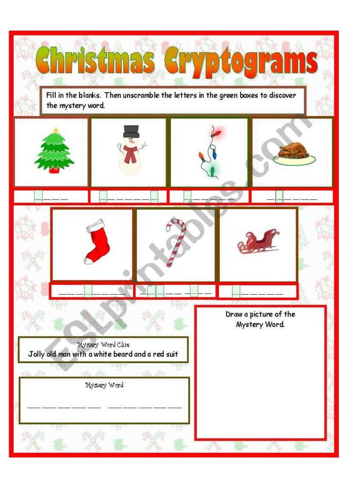 Christmas Cryptograms   Esl Worksheetanna P