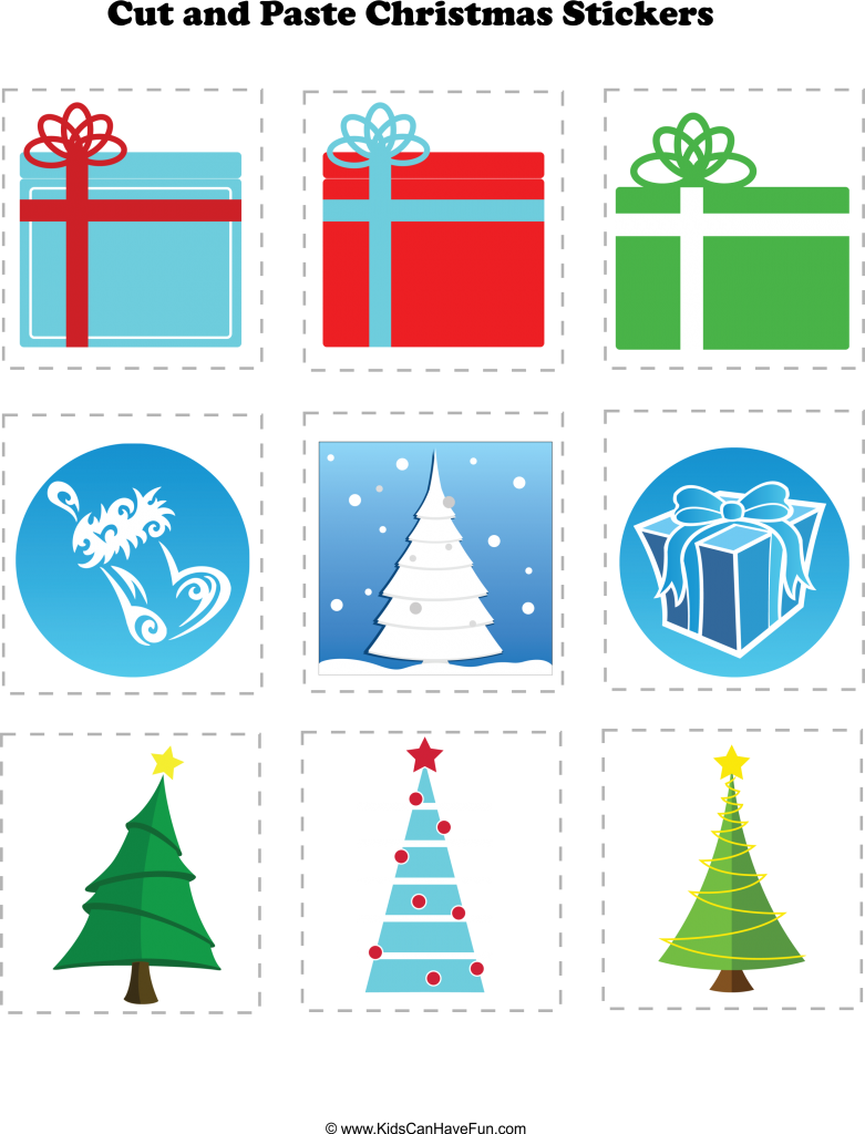 Christmas Cut And Paste, Holiday Worksheet Activities