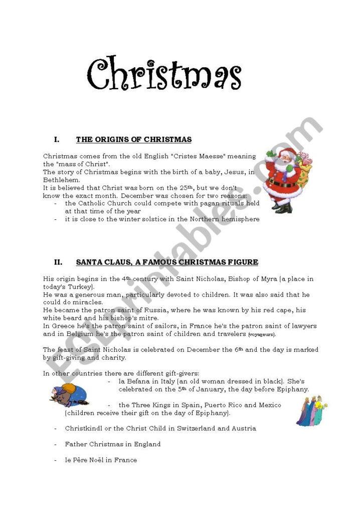 Christmas   Esl Worksheetpricess