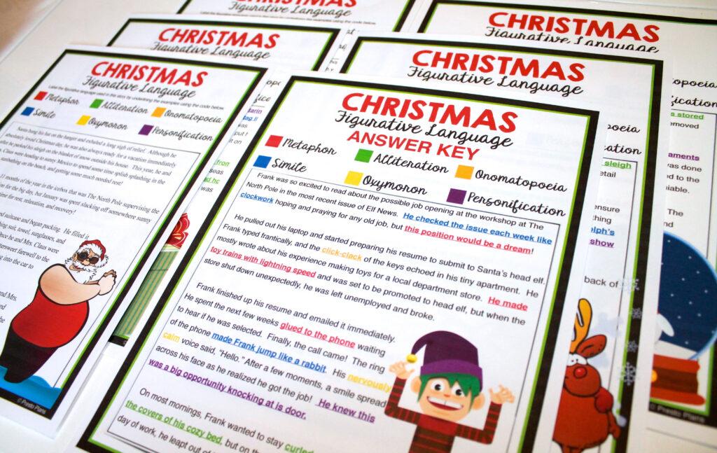 Christmas Figurative Language   5 Stories   Figurative