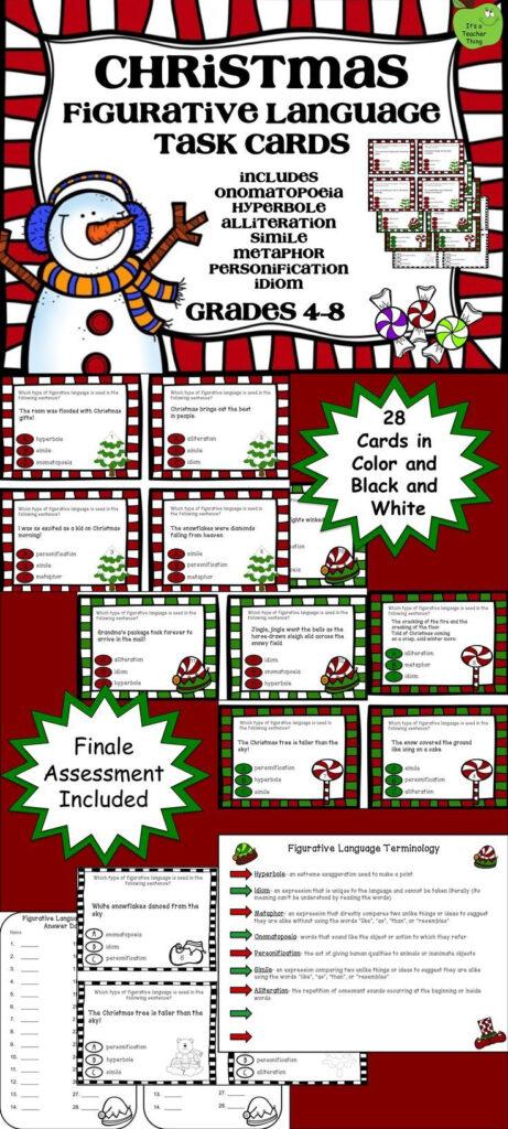 Christmas Figurative Language Task Cards   Figurative