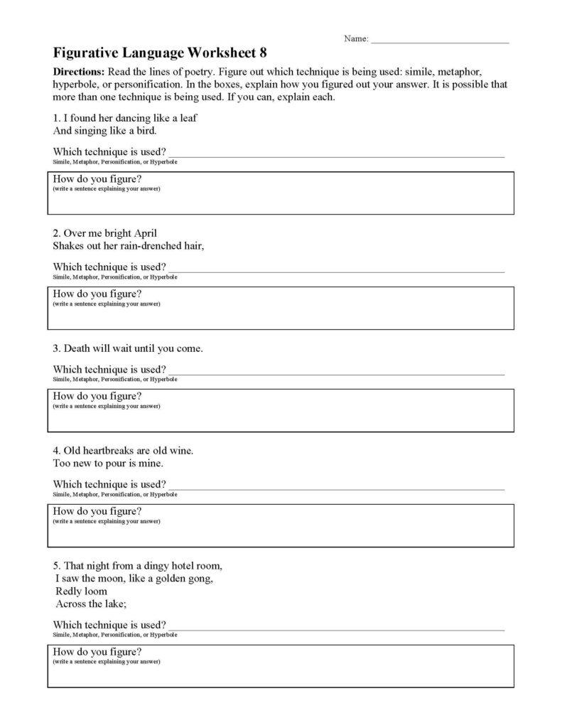 Christmas Figurative Language Worksheet   Printable