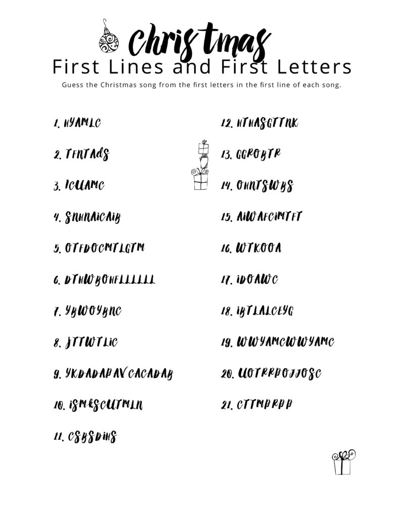 Christmas First Lines And First Letters – The Gospel Home