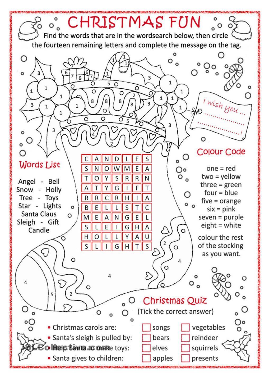 Christmas Fun … | Christmas Worksheets, Christmas Lesson
