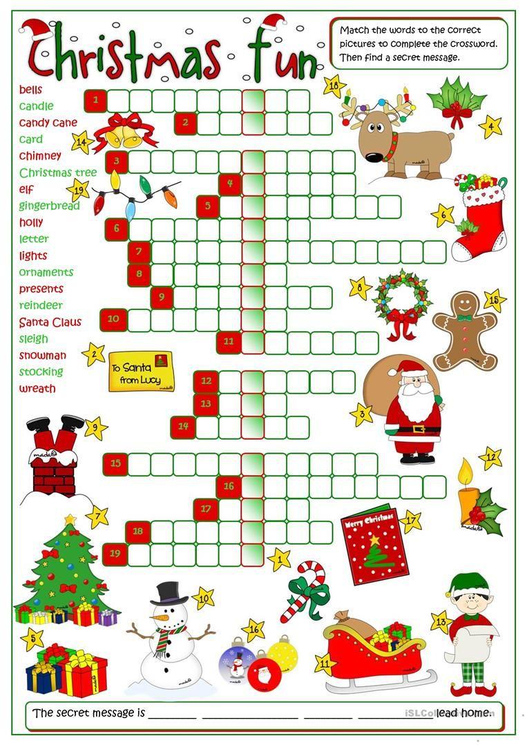 Christmas Fun - Crossword Worksheet - Free Esl Printable