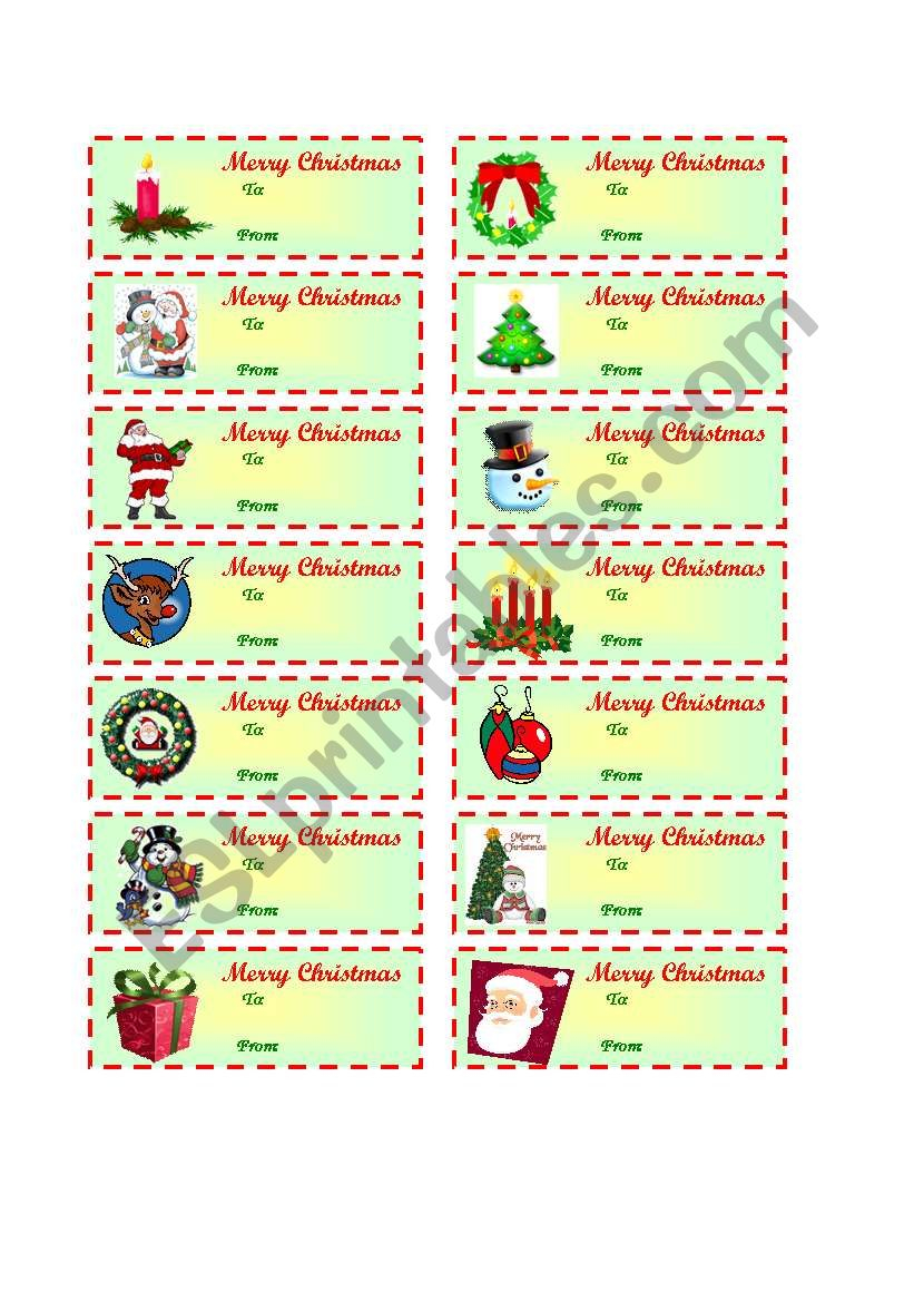 Christmas Gift Tags (To / From ) - Esl Worksheetcharmed One