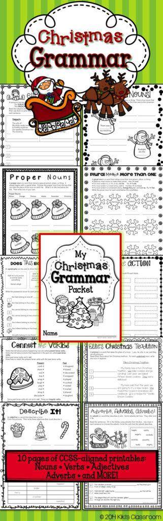 Christmas Grammar Pack~Ccss Aligned Nouns • Verbs