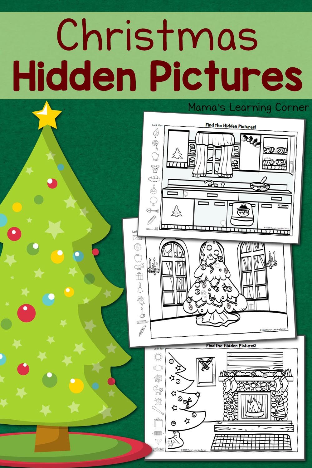Christmas Hidden Pictures Worksheets - Mamas Learning Corner
