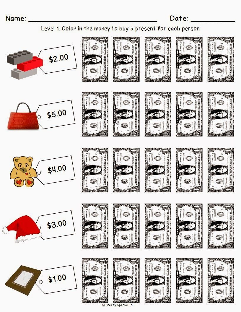 Christmas/holiday Shopping Worksheets For Free   Money