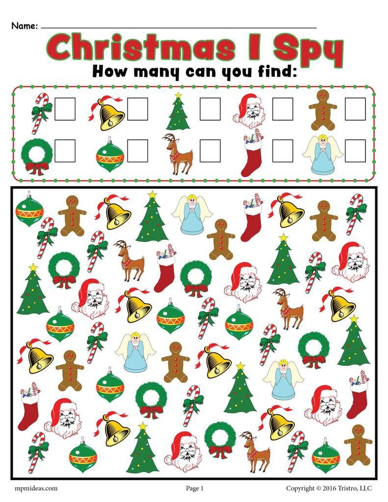 Christmas I Spy - Printable Christmas Counting Worksheet