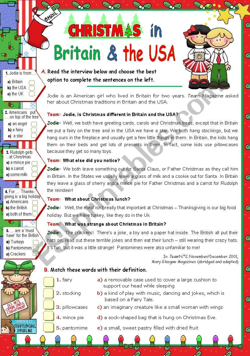 Christmas In Britain And In The Usa - Esl Worksheetmena22
