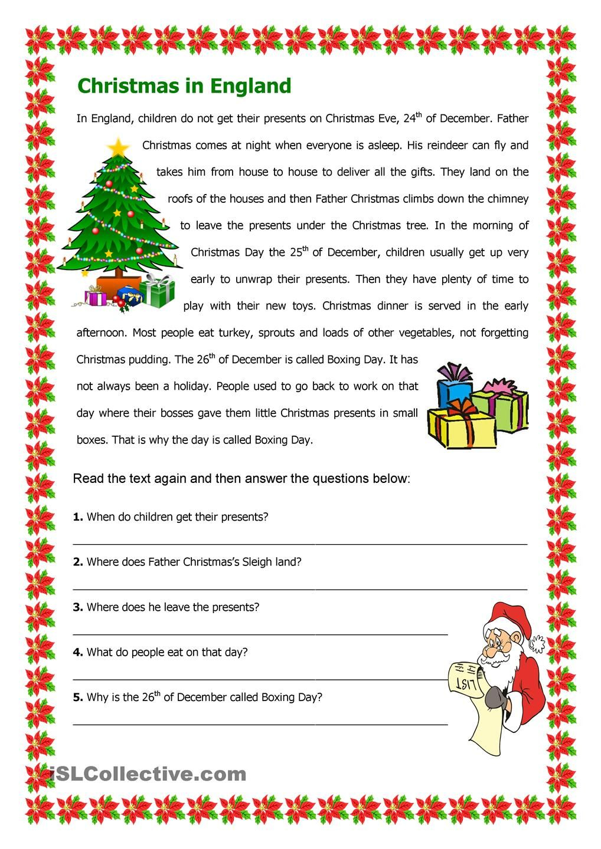 Christmas In England | Christmas Reading Comprehension