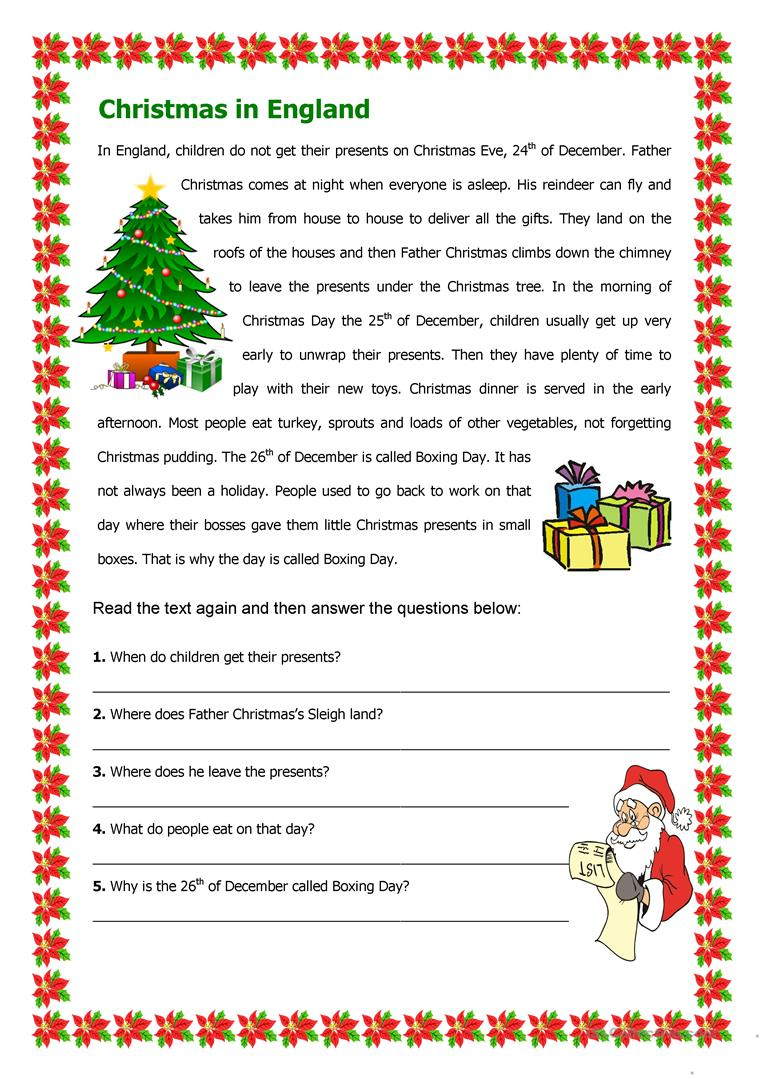 Christmas In England - English Esl Worksheets For Distance