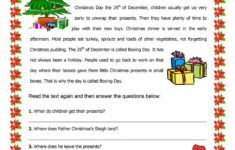 Christmas Comprehension Worksheets