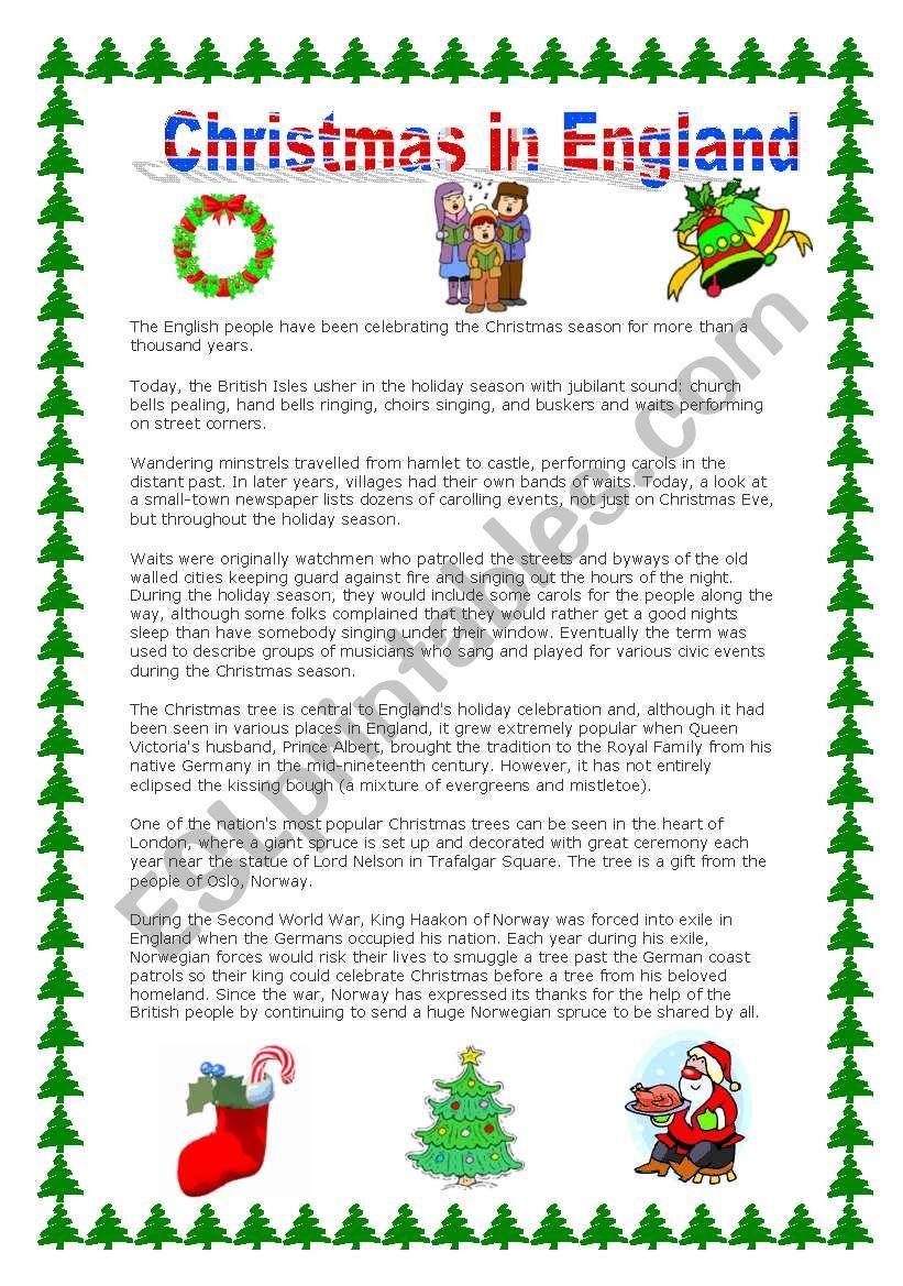 Christmas In England - Esl Worksheetnuno Miguel