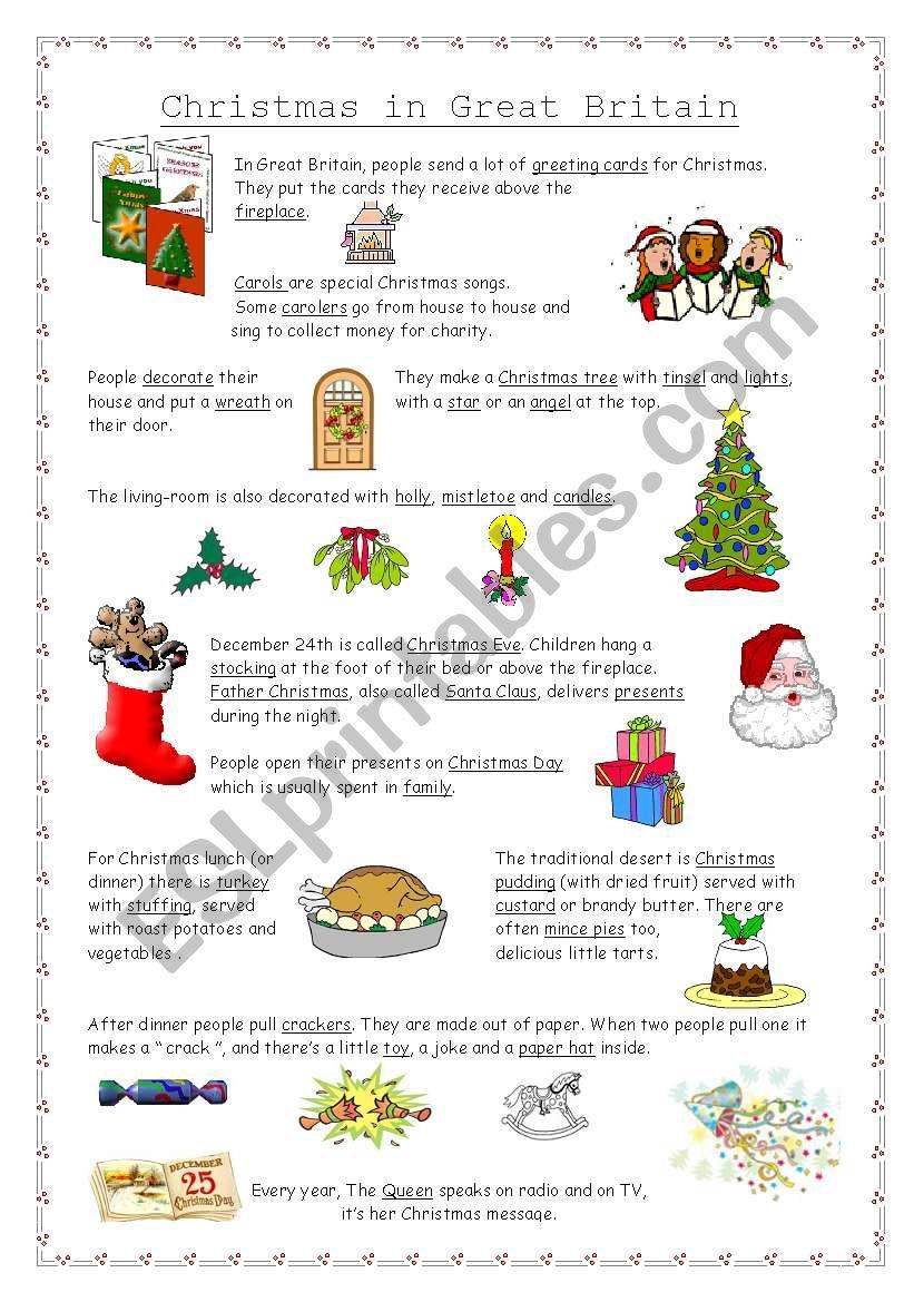 Christmas In Great Britain - Esl Worksheetnathalie891