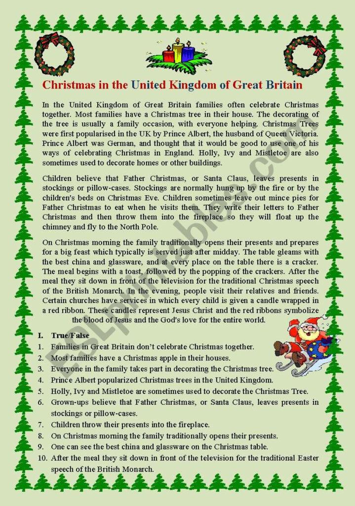 Christmas In Great Britain   Esl Worksheetoksana2107