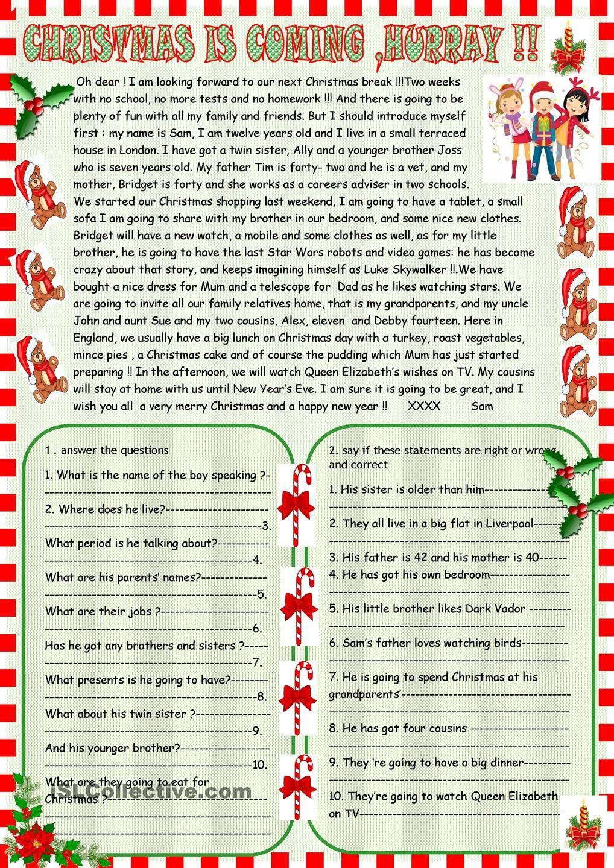 Christmas Is Coming : Reading Comprehension | Christmas