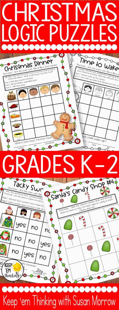Christmas Logic Puzzles Gr. 1 3: Beginning Logic Puzzles
