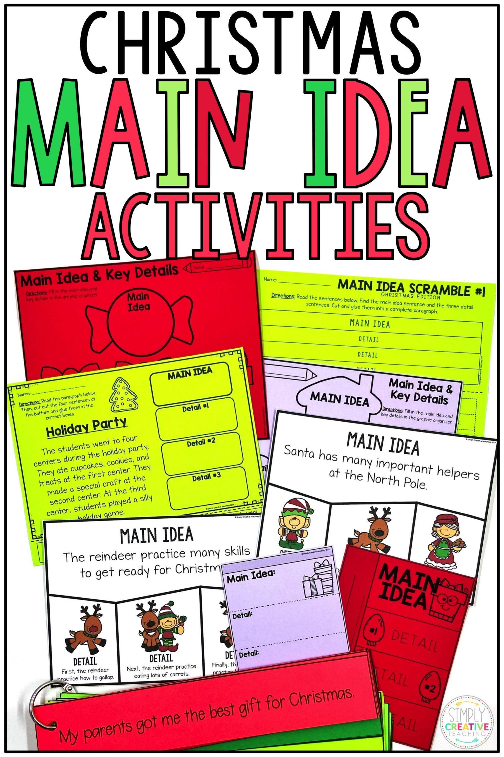 Christmas Main Idea Worksheets