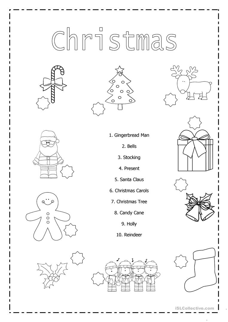 Christmas Matching - English Esl Worksheets For Distance