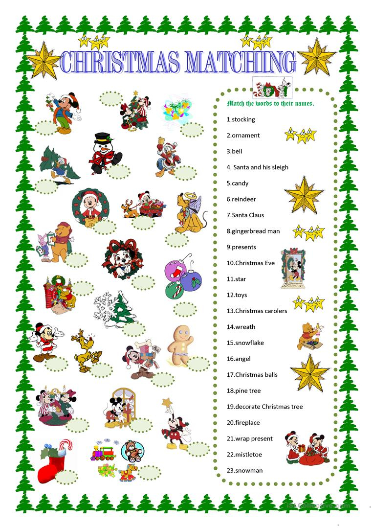 Christmas Matching With Disney Characters - English Esl