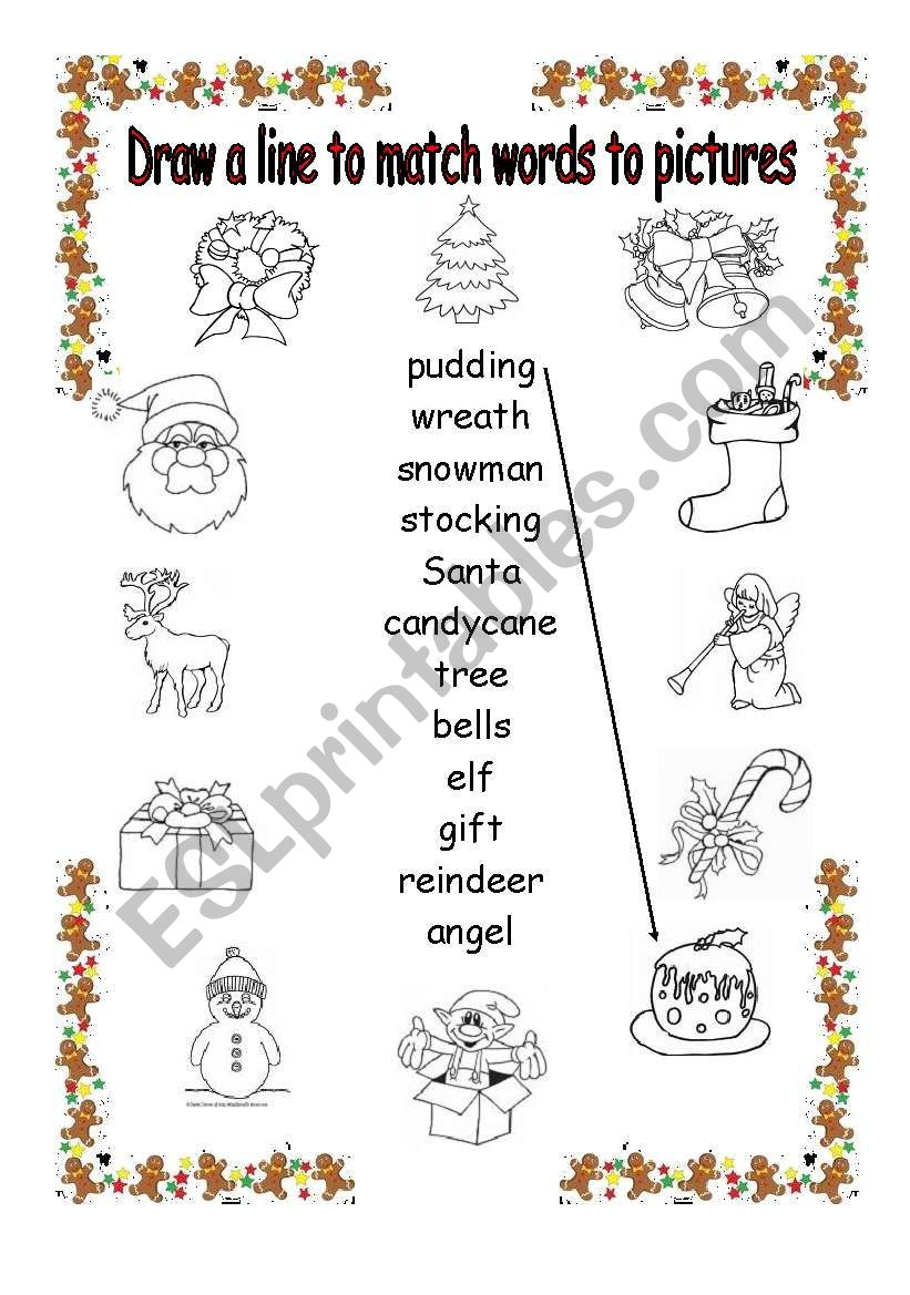 Christmas Matching Words To Pictures - Esl Worksheetfleur